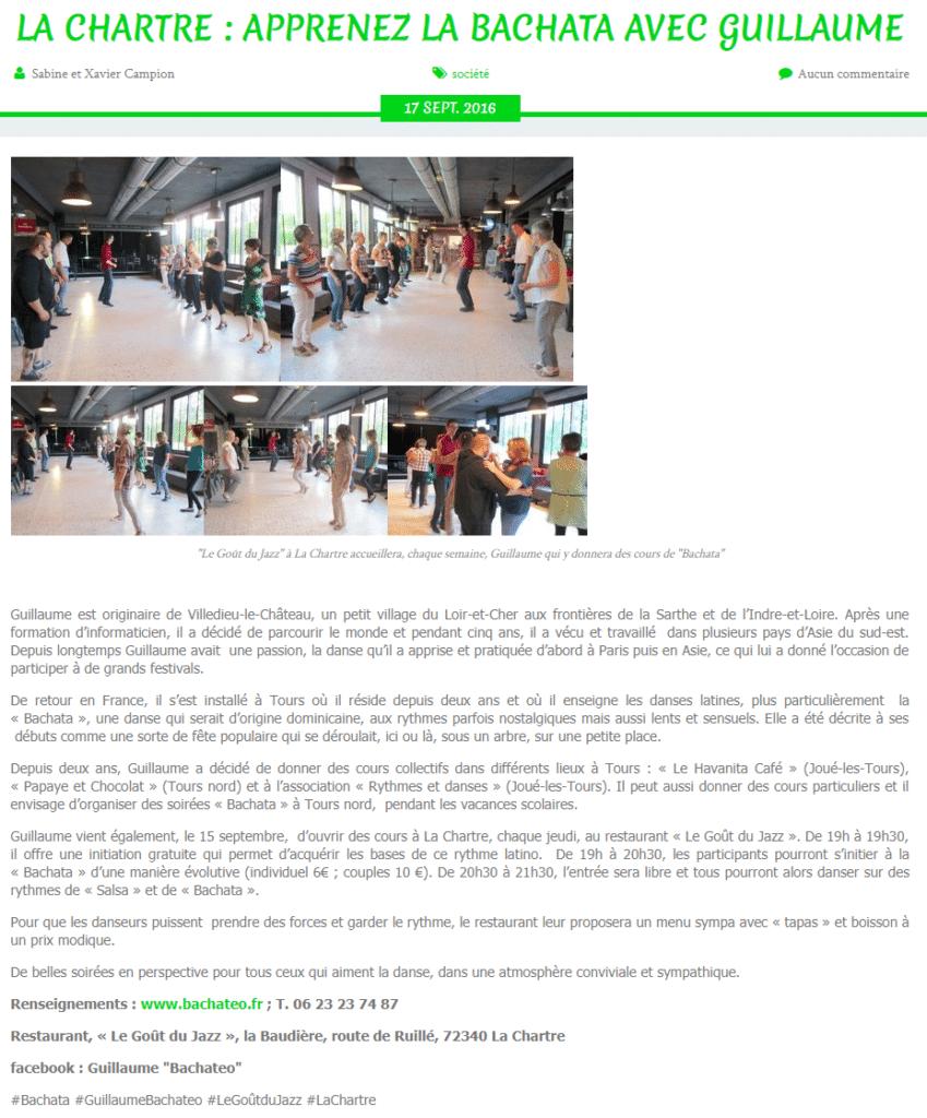 La presse en parle : articles et interviews sur la Bachata à Tours 9