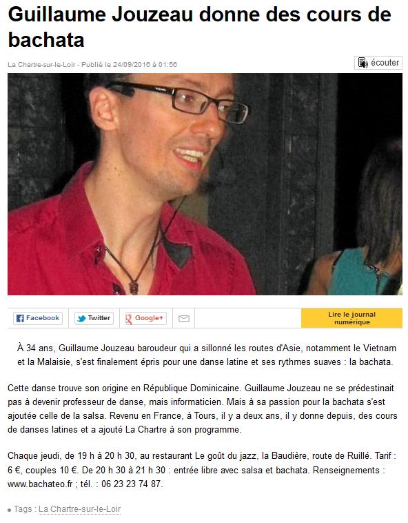 La presse en parle : articles et interviews sur la Bachata à Tours 7