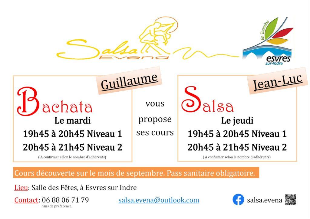 Bachata : cours de danse latine à Esvres-sur-Indre le mardi (Salsa Evena) 1